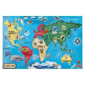 Melissa & Doug® Floor Puzzle - World Map : Target