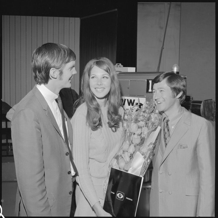 344830PD: Peter Waltham, Jeff Newman & contestant, rehearsal for beauty pageant in TVW Channel 7 studio 1970.  http://encore.slwa.wa.gov.au/iii/encore/record/C__Rb2418858__S344828pd__Orightresult__U__X3?lang=eng&suite=def
