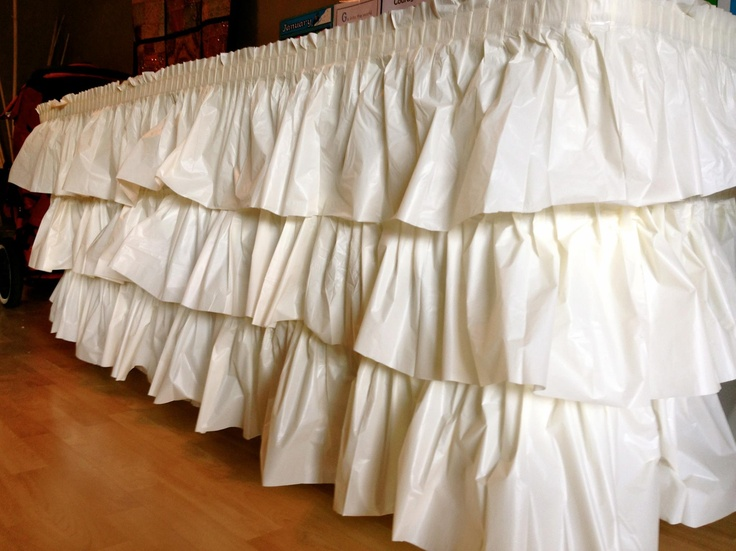 No-sew ruffled tablecloth made from layers of plastic tablecloths.