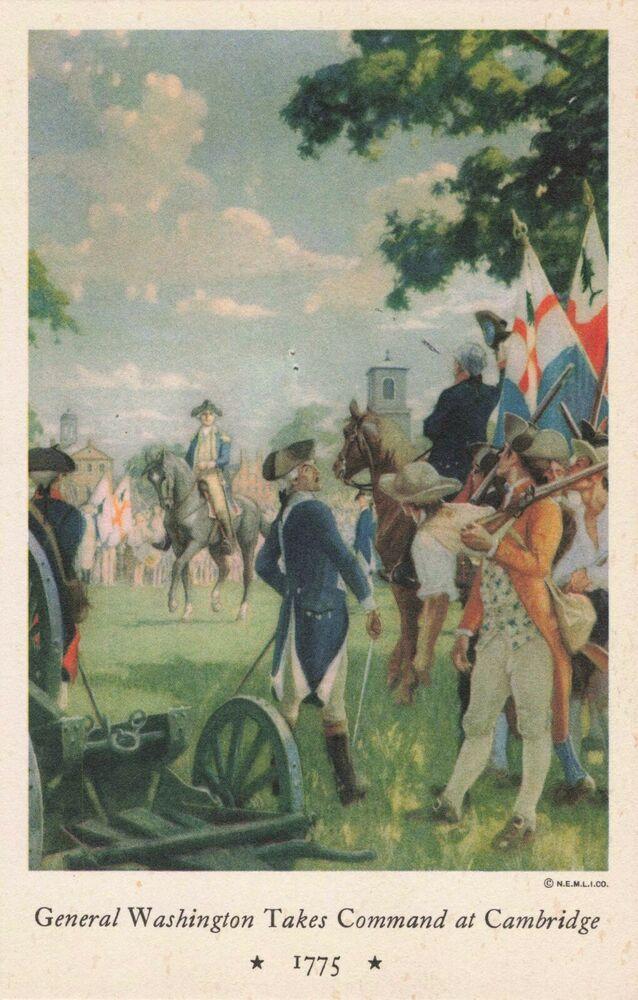 Postcard General Washington Takes Command At Cambridge Ebay