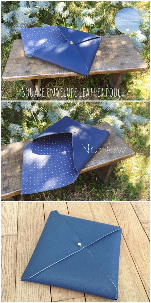 Square envelope leather pouch DIY  No-sew! Very easy to do with free printable pattern.
