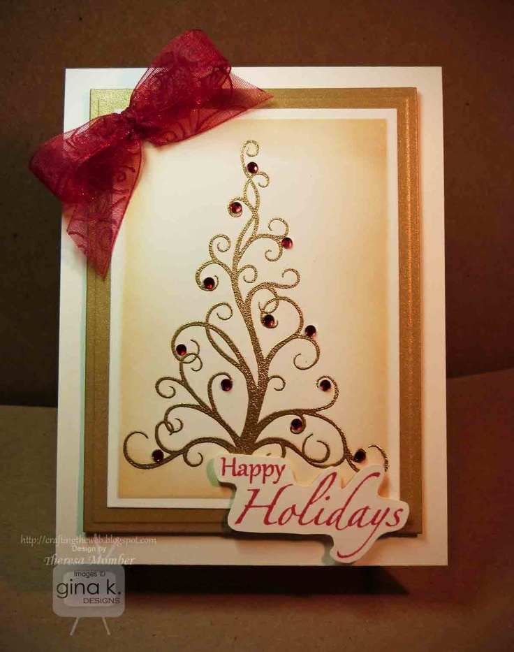 Card Making Ideas Gina K Part - 27: Crafting The Web: Golden Holiday Tree Card Making Tutorial
