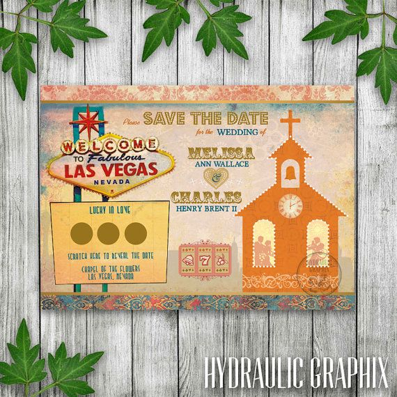 Printable Las Vegas Wedding Save the Date by HydraulicGraphix