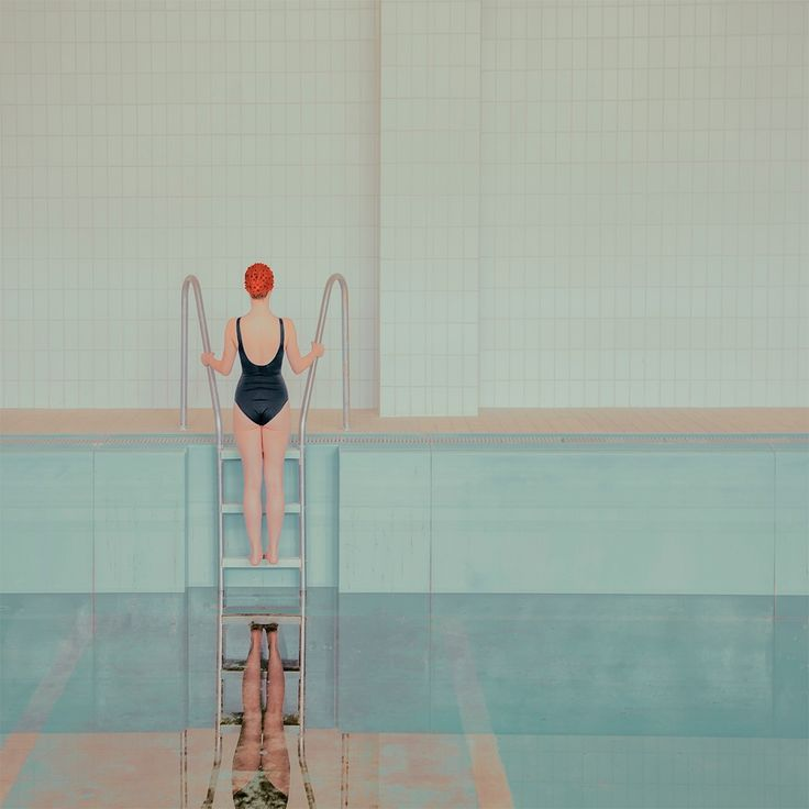 'Swimming Pools.' Mária Švarbová. Švarbová was inspired by her college studies in conservation, restoration, and archeology to create these very minimalist works of art. She purposefully uses pastels and straight lines to propel the side once into a rigid, unearthly sanitized scene stripped away from any luxuries. The stillness in these paintings is remarkable; the rigidness of the figures in the work accentuates the calmness of the scene in general.