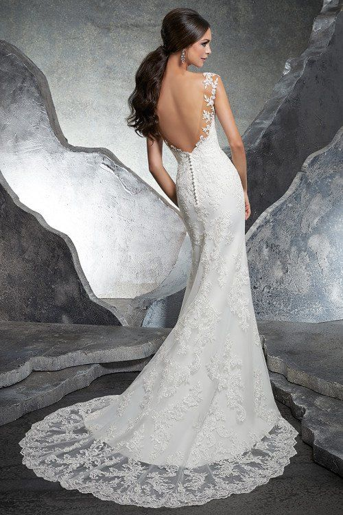 446af7a495e Fit-and-flare wedding dress idea - lace wedding dress with open-back and  train. Style 5612 from Morilee by Madeline Gardner. See more wedding dress  inspo on ...