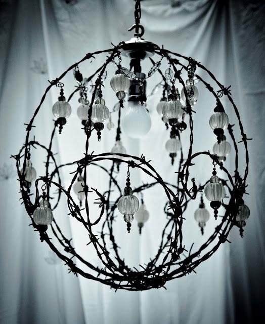 barbwire chandelier