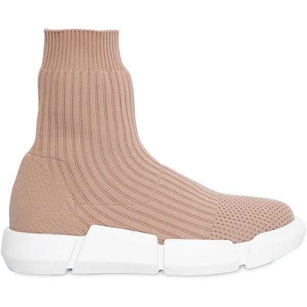 Elena Iachi Women 30mm Rib Knit Sock Pull-on Sneakers (£325) ❤ liked on Polyvore featuring shoes, sneakers, nude, slip on sneakers, slip-on sneakers, slip on shoes, logo shoes and elena iachi sneakers