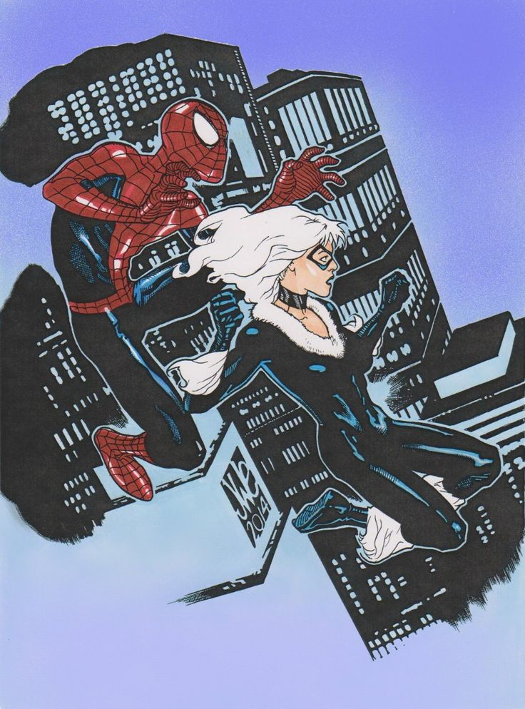 Spiderman and Blackcat in color Comic Art