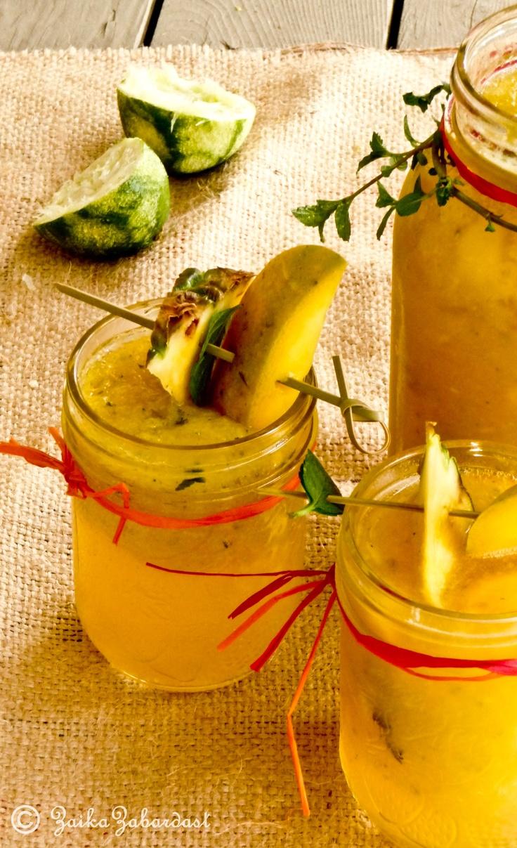 Sensational and refreshing Mango-Pineapple sangria - Cinco de mayo special!: Sensational, Pineapple Sangria, Drinks Recipes, Beverages, Drink Recipes, Refreshing Summer Drinks, Mango Pineapple, Pineapple Non Alcoholic, Non Alcoholic Sangria