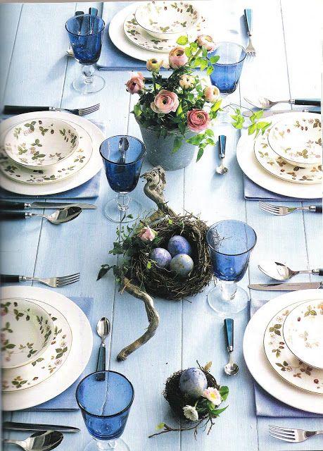tavola apparecchiata azzurra stile shabby chic provenzale country