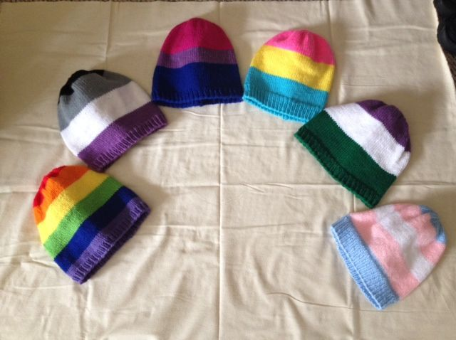 Pride Wear at 221bInTimeAndSpace. Pride Flag Beanies, and coming very soon, scarves!!  Asexual, Pansexual, Bisexual, Transgender, Genderqueer, Gay/Lesbian, Demigirl/boy, Aromantic. https://www.etsy.com/shop/221bInTimeAndSpace