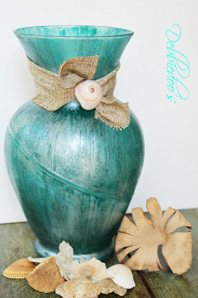 DIY Coastal rit dye vase with mod podge and teal rit dye