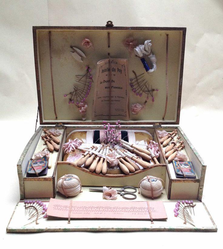 Ancien jeu 1900 Boite dentellière dentelle Puy aux fuseaux Cartier Bresson Atlas