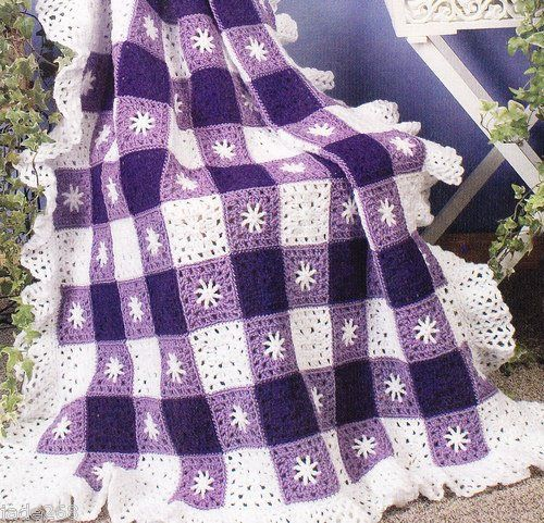 """AMETHYST GINGHAM STAR AFGHAN"" CROCHET PATTERN I think this would be awesome in red, white, and blue"