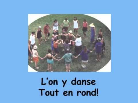 """Sur le pont d'Avignon"" from Matt Maxwell's CD for students of French ""Le Loup du Nord""--a fun version of the traditional song thanks to the inclusion of nontraditional participants (robots, singes, soucoupe-volantes), along with the stills from Grease and Dancing with the Stars.  My five-year-old laughed a lot the first time we watched it and called it ""silly."""