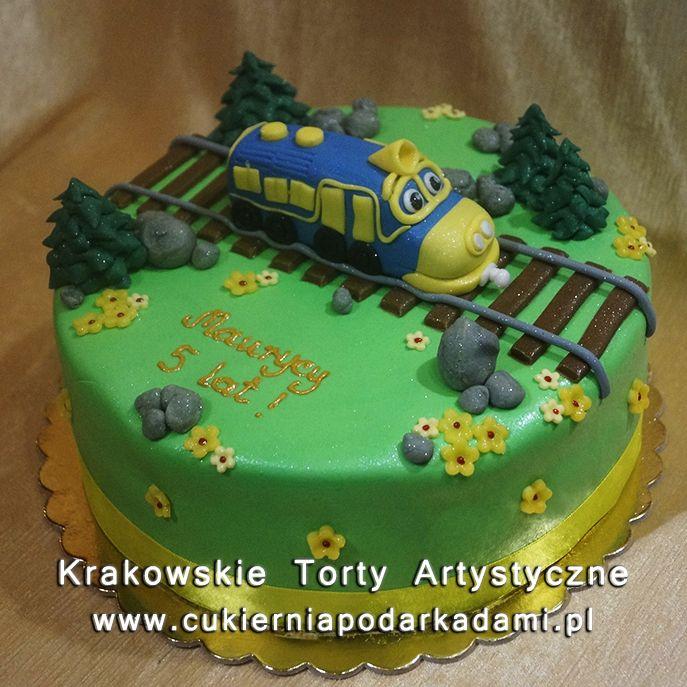 117. Zielony tort z pociągiem z bajki Stacyjkowo. Train cake.