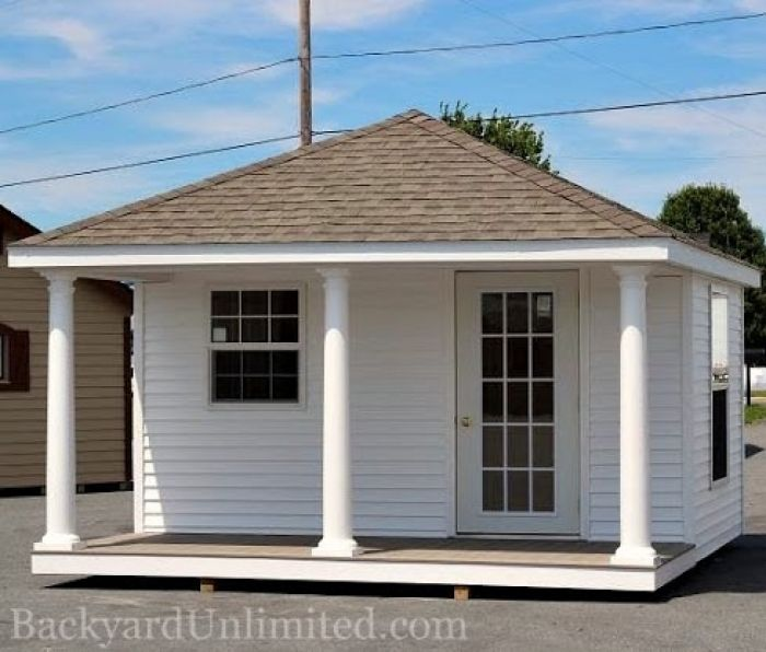 This Small Backyard Guest House Is Big On Ideas For: 12x16 Custom Hip Roof Shed With Porch, Vinyl Siding And 15