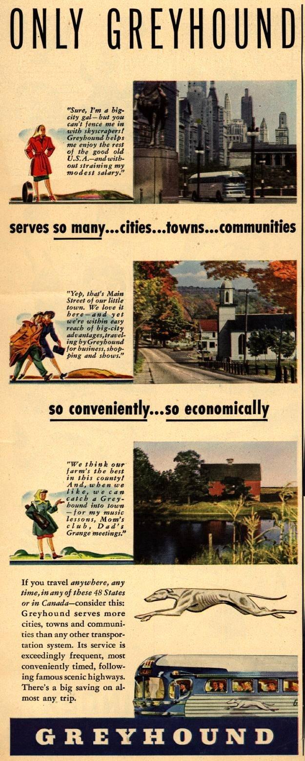 Vintage Greyhound Ad - 1947
