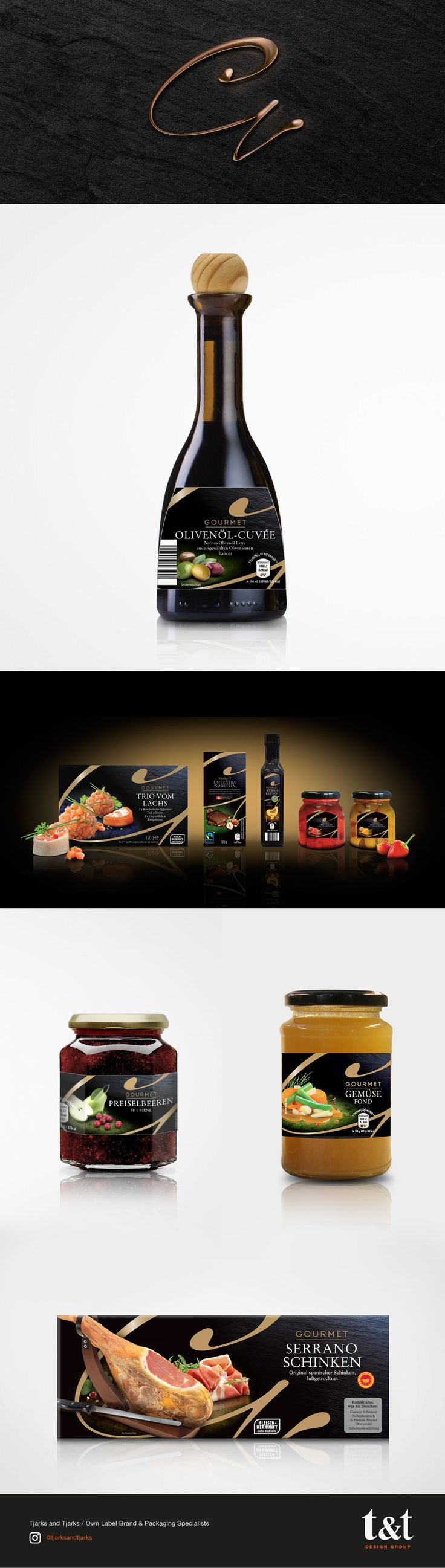 Gourmet Premium Packaging Design - Having created the original Gourmet range for ALDI SÜD many years ago, we were commissioned to update the successful range with a modern, iconic, new look. We created a distinctive logo and packaging concepts for this extensive, premium-priced product range. The design had to convey the outstanding quality of the products whilst differentiating itself from everything else on the European market.
