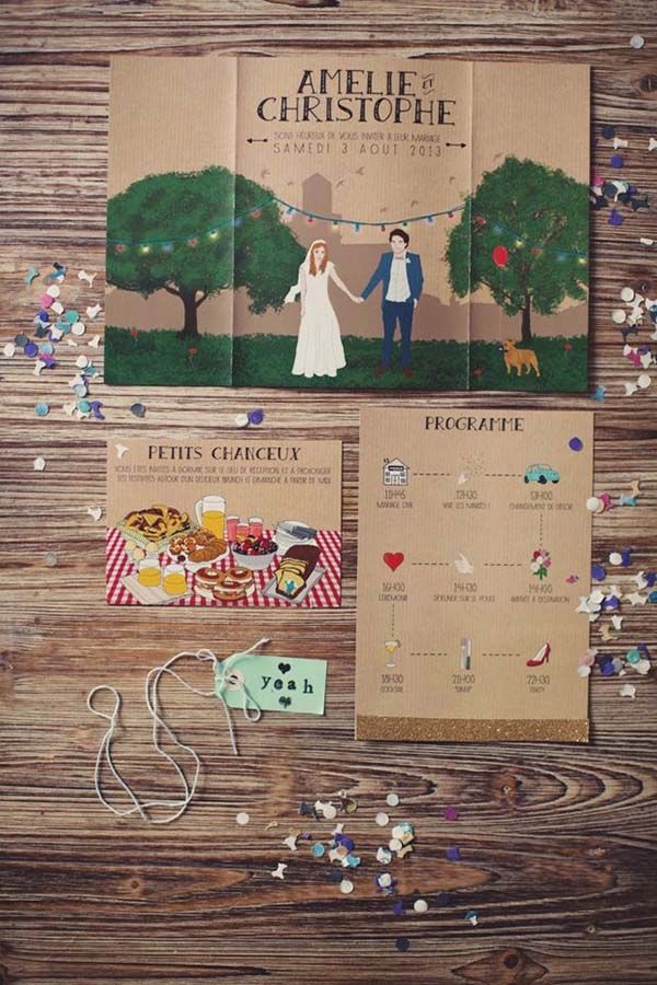 """CUSTOM ILLUSTRATED INVITATIONS Another way to add that custom, handmade touch to your special day? Custom-illustrated wedding invites! You and your significant other will love showing off your personalities with a completely one-of-a-kind wedding invite."""