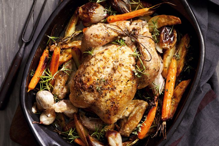 Jill Dupleix's roast chicken. A great roast starts with the bird, so buy the best you can; trussing the legs gives a good shape; garlic, herbs and butter add flavour; roast the vegetables at the same time.