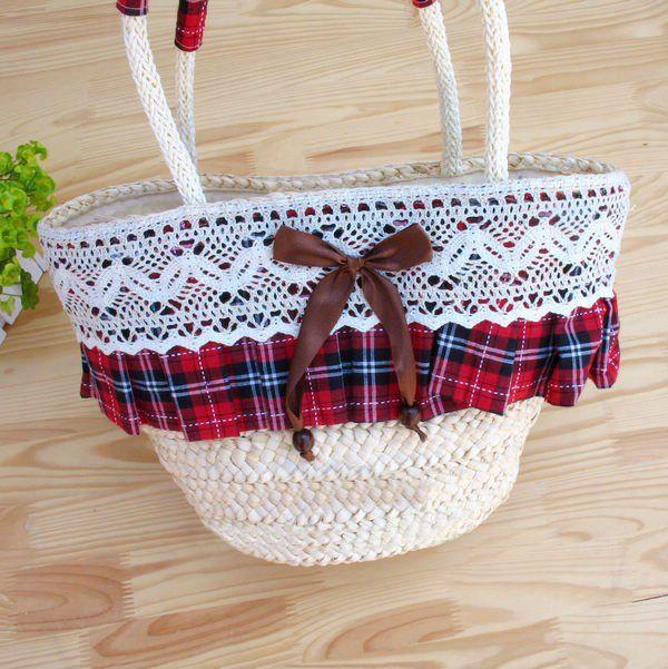 Paja de moda bolsa de playa con encajes (T870) en bolsas de mensajero de Equipaje y Bolsas en Aliexpress.com