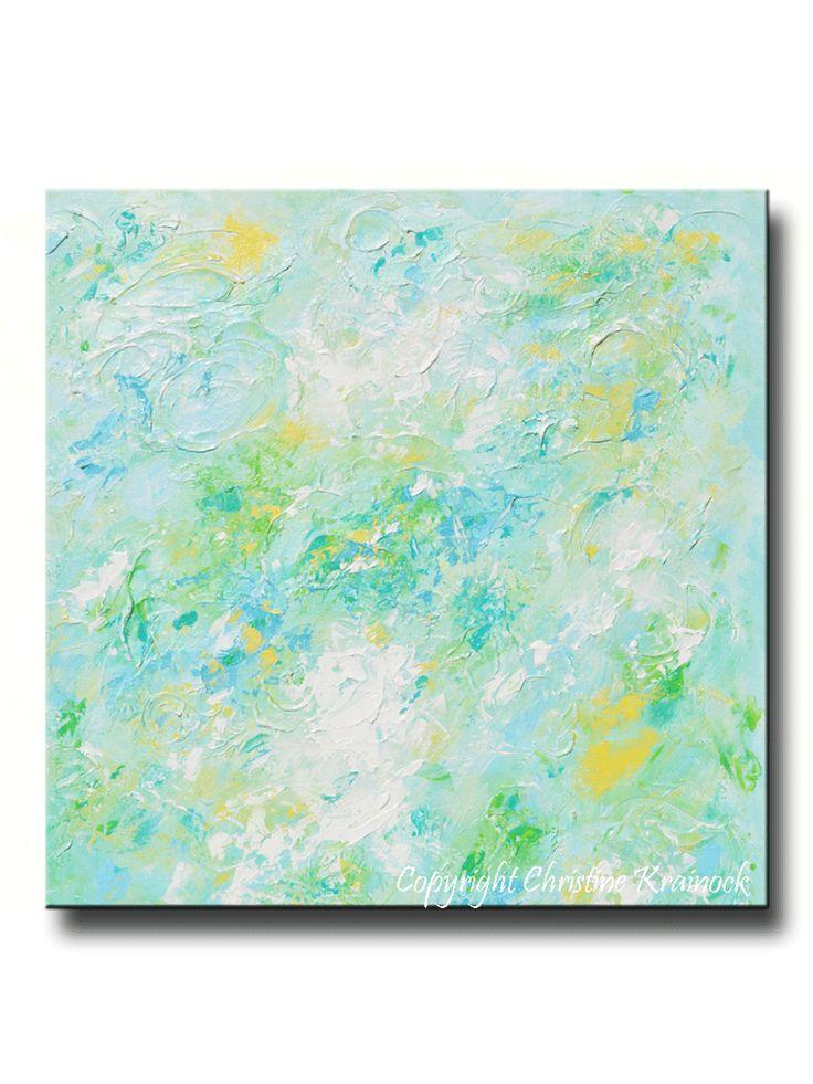 GICLEE PRINT Soft Aqua Blue Abstract Painting Light Blue Modern Canvas Print Coastal Beach Artwork Pale Green White Yellow Wall Art Home Decor LARGE Select Sizes - Christine Krainock