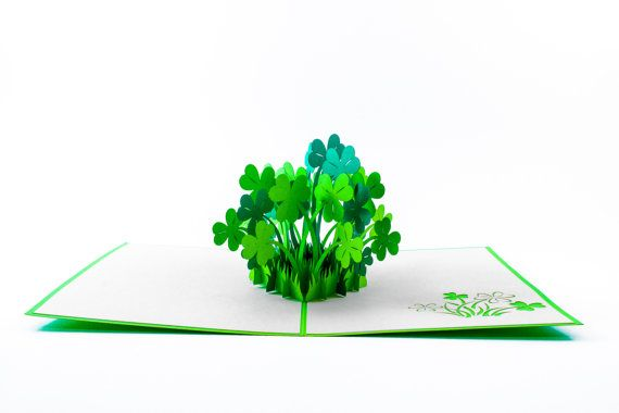 Four-leaf clover pop up card Handmade good by CraftWithLoveHouse