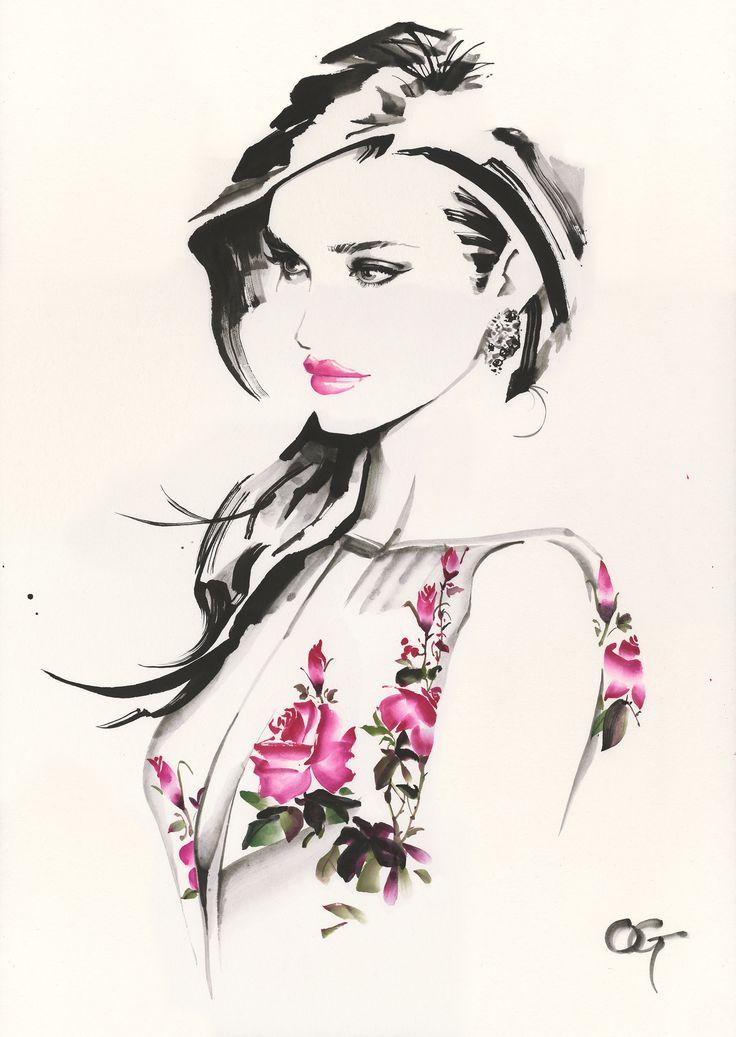 Fashion illustration on ArtLux Designs. #watercolor #indiaink