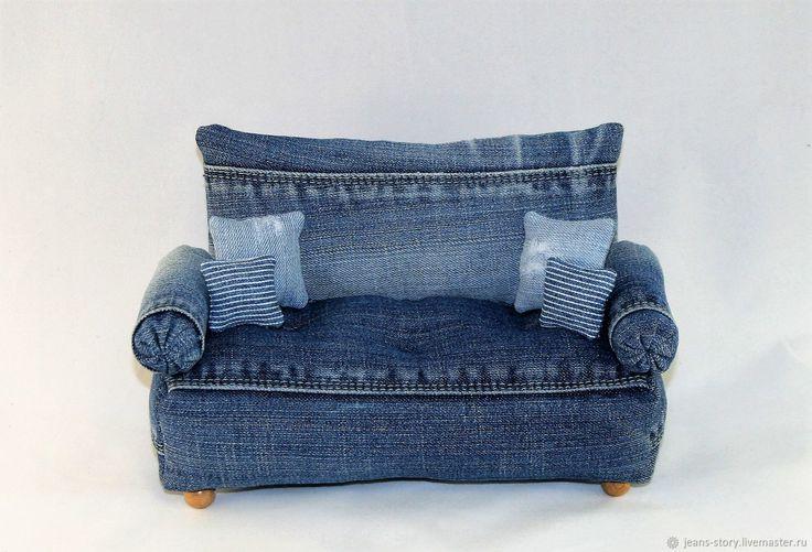Купить Диванчик джинсовый - комбинированный, диван, диванчик, диван для куклы, Диван для кукол, диванные подушки