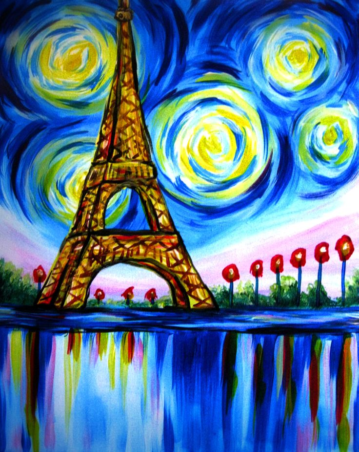 Beautiful paris eiffel tower by julie ducap paint nite for How paint on canvas