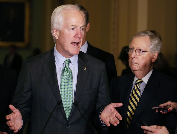 WASHINGTON, DC - JUNE 21: Sen. John Cornyn (R-TX), (L), and Senate Majority Leader Mitch McConnell (R-KY), speak to reporters after their weekly policy luncheon on Capitol Hill, June 21, 2016 in Washington, DC.  Cornyn's Senate gun control proposal was one of four voted down Monday. (Photo by Mark Wilson/Getty Images)