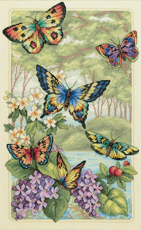 butterfly cross stitch | gold collection butterfly forest counted cross stitch kit 10 x16 14 ...