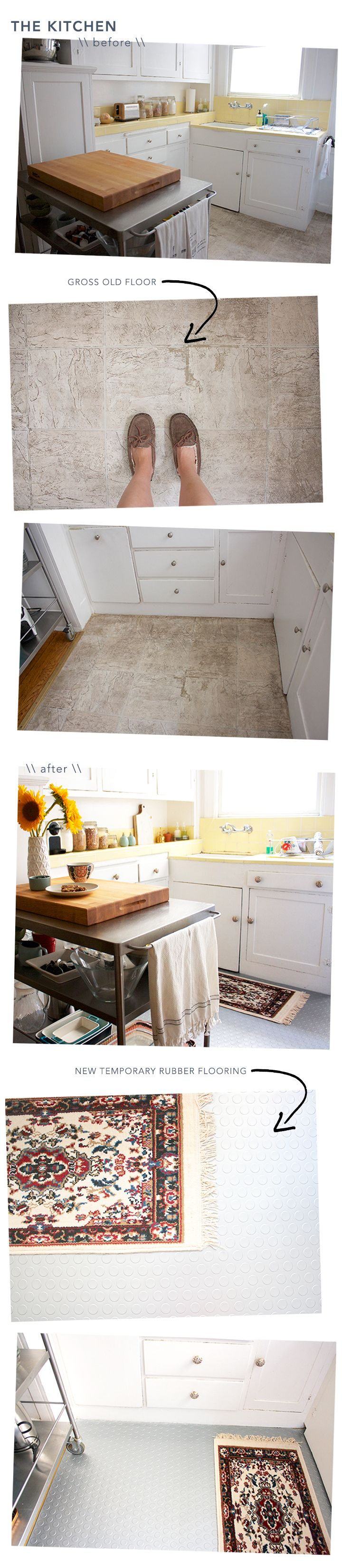 before and after temporary kitchen floor floors chic and blog