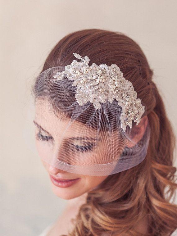 Ivory Wedding Headpiece Birdcage Veil Hair Comb by GildedShadows