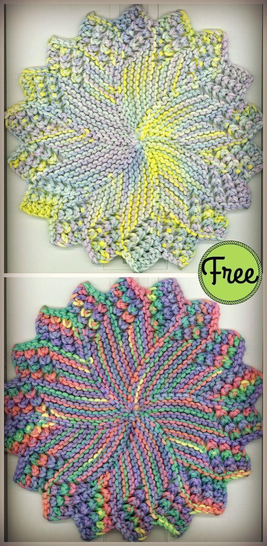 Round Sunburst Dishcloth Free Knitting Pattern Dishcloth