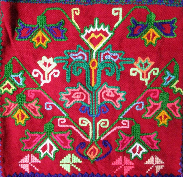 Mazahua Embroidery Mexico  Close-up of the colorful embroidery on a woven bag from the Mazahua town of Crescencio Morales in Zitacuaro, Michoacan Mexico