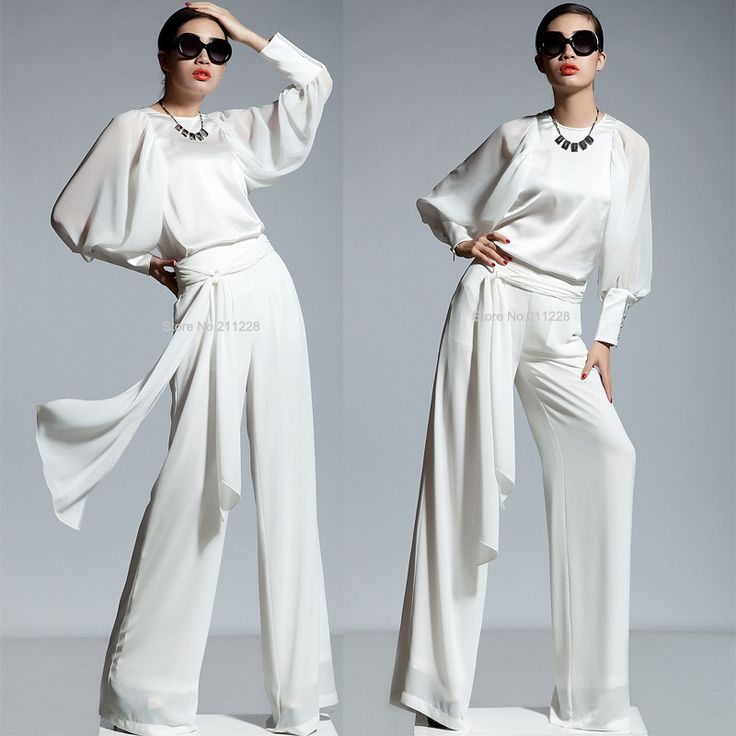Women+Dress+Jumpsuits | Chiffon Long Sleeve White Jumpsuits , Womens Overalls , Wide Leg Dress ...