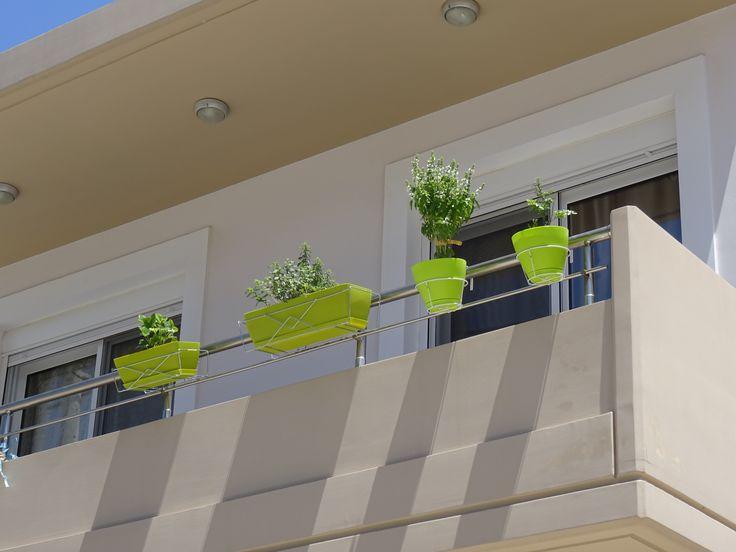 Γλάστρες πράσινες με φυτά 🌱 για μπαλκόνι