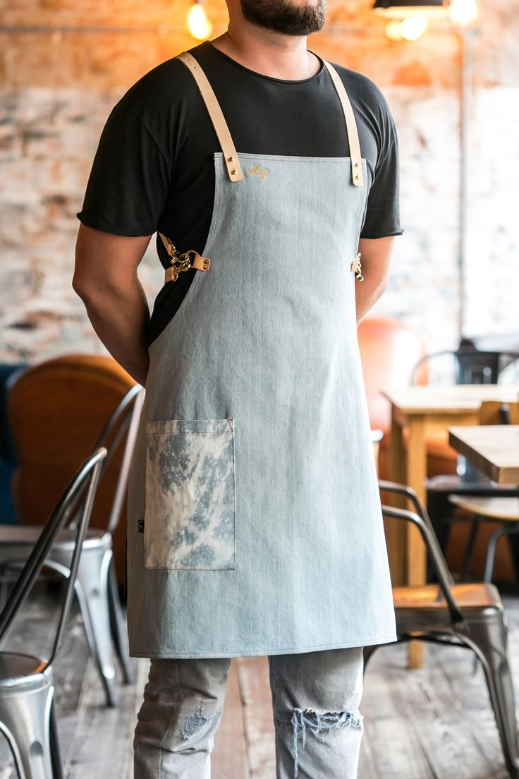 Light Blue Bartender Denim Apron with Cross Leather Straps.