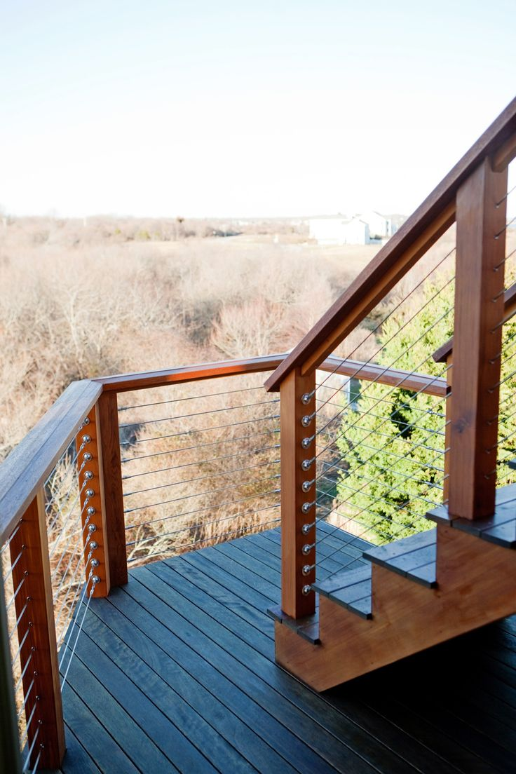 Stainless Steel Cable Railing With Mahogany Top Cap And