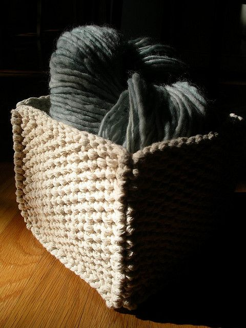 seed stitch 5 squares using medium weight string; sew together to create basket