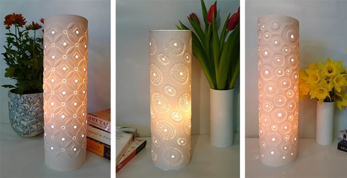 Porcelain Table Lamps by Meryl Till also available as tea light covers