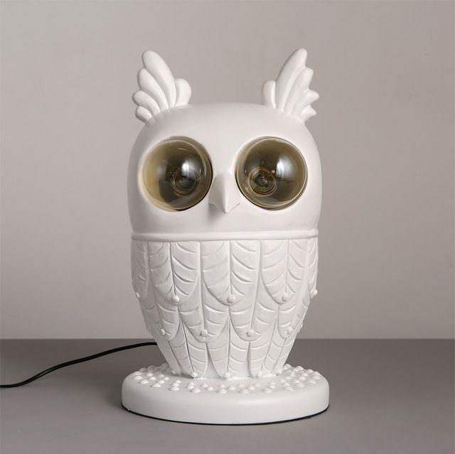 Современные творческий белый смола сова настольная лампа гостиная спальня детская комната декоративные животные настольные лампы