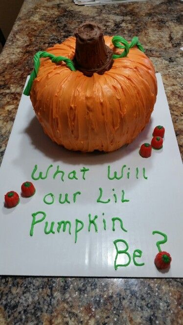 Pumpkin gender reveal cake