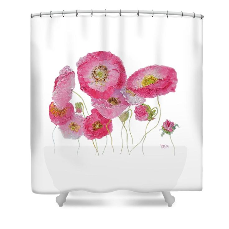 Poppy painting on white background Shower Curtain #showercurtains #bathroomaccessories #bathroomdecor #showerscreen