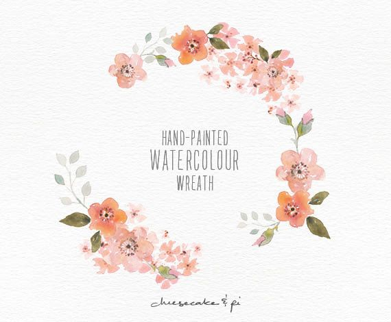 This elegant blossom watercolor wreath is hand painted with love. It looks beautiful on wedding stationery, but of course is not limited to that.