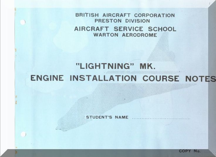 English Electric Lightning Aircraft Engine Installation Manual - Aircraft Reports - Aircraft Helicopter Engines Propellers Manuals Blueprints Publications