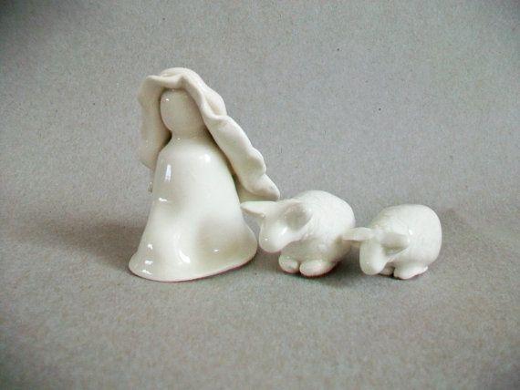 Nativity Shepherd and 2 Lambs  Translucent  by SuzannesPotteryFarm