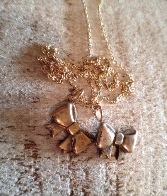 Cast Bronze Bow Charm Necklace